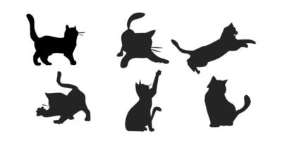 cute cat silhouette illustration vector
