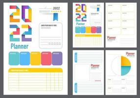 planners 2022. Monthly, weekly, daily planner template. vector