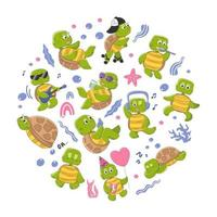 Set of cute turtle characters. vector