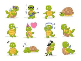 Set of cute turtle characters in cartoon style vector