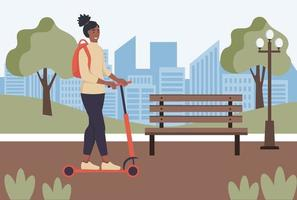 Young  woman rides an electric scooter through the park vector