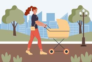 Una mujer joven con un cochecito está caminando por el parque. vector