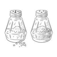 Salt and Pepper Shakers Engraved Illustration vector