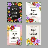 Floral Invitation Card Collection vector