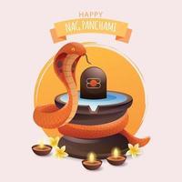 Nag Panchami With Shivling Snake vector