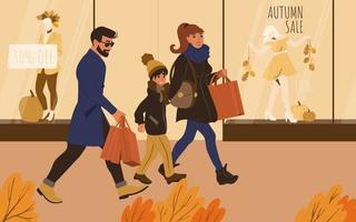 The family is shopping at the autumn sales vector