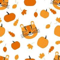 Seamless kids autumn pattern with cute tiger head, pumpkins and leaves vector