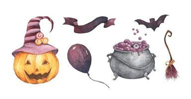Watercolor Halloween set. vector