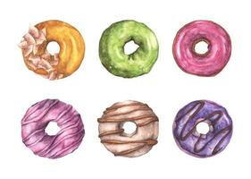 Set of colorful donuts. Watercolor illustration. vector