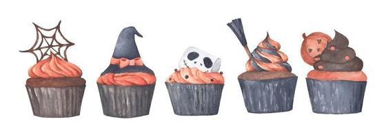 variedad de cupcakes de halloween. Ilustración acuarela. vector
