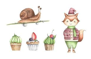 Cute fox with cupcakes and snail. Watercolor illustration. vector