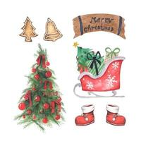 Set of Christmas decorations. Watercolor illustration. vector