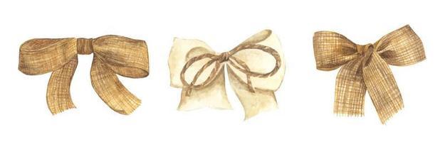 Set of Burlap bow and ribbon. Watercolor illustration. vector
