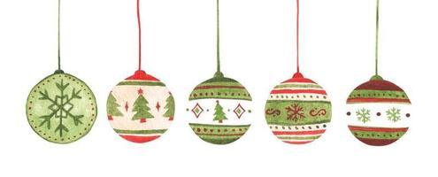 Colorful christmas balls set. Watercolor Christmas card. vector