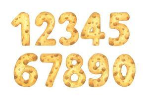 conjunto de números de queso del uno al cero. Ilustración acuarela. vector