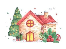 Winter illustration with houses. Watercolor Christmas card. vector