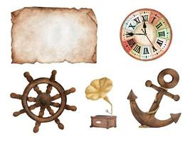Old paper, clock, boat steering wheel, gramophone and anchor. vector