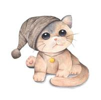 Cute cat. Watercolor and colored pencil illustration. vector