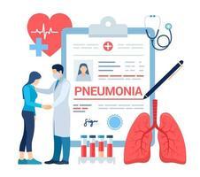 Medical diagnosis - Pneumonia. Lungs infection. Medical concept vector