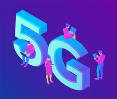 5G Network Internet Mobile technology concept. 5G wireless systems. vector