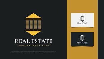 Diseño de logotipo inmobiliario dorado con concepto de pilar. vector
