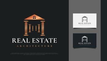 Diseño de logotipo inmobiliario de lujo con concepto de pilar. vector