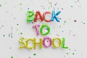 back to school sign with balloons photo
