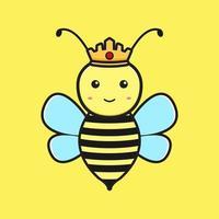 Ilustración de vector de icono de dibujos animados de mascota de abeja reina