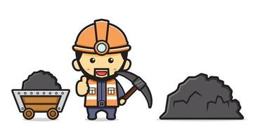 Miner digging mine cartoon icon vector illustration
