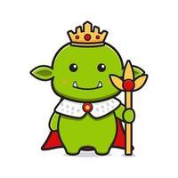 King goblin mascot cartoon icon vector illustration