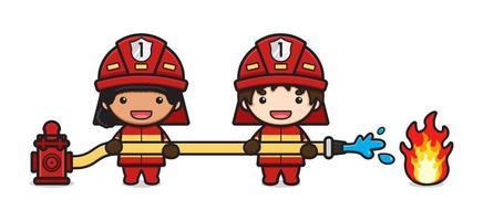 El bombero apaga la ilustración de vector de icono de dibujos animados de fuego