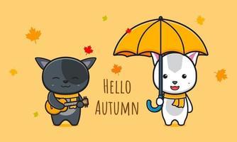 Cat saying hello autumn  card cartoon icon vector illustration