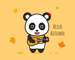 Panda playing guitar  banner cartoon icon vector illustration