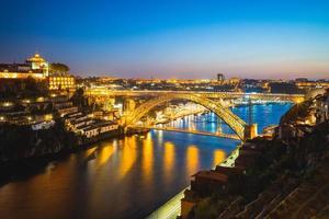 Dom Luiz bridge over River Douro in Porto in Portugal at night photo