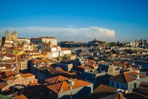 Porto Cathedral and  Dom Luiz Bridge in Porto in Portugal photo
