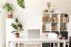 Stylish cozy workspace with laptop, bookshelves and plants photo