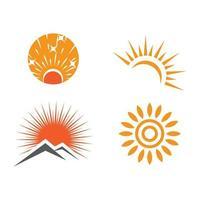 Establecer sol logo plantilla vector símbolo