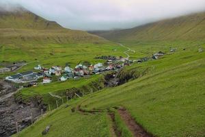 Around the village of Gjogv on Faroe Islands photo
