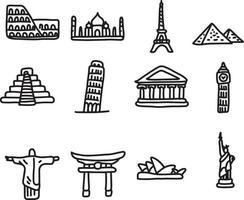 set of travel landmarks around the world icon set vector