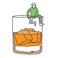metaphor addicted man trying climb out off a glass of alcohol vector