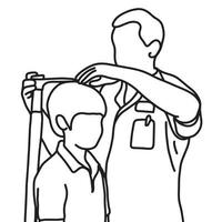 male doctor measuring the current height of his young male patient vector