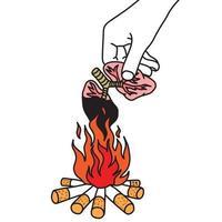 Metáfora cigarrillo quemando pulmones humanos en la mano vector