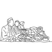 Familia tradicional musulmana juntos cenando en la mesa vector