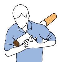 metaphor cigarette stab human body vector