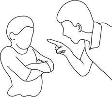 Dad scolding his son vector illustration
