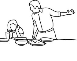 husband and wife in quarrel in kitchen vector