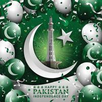 Happy Pakistan Independence Day with Monument of Minar vector