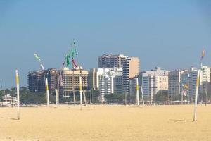 Empty Copacabana beach during the coronavirus quarantine in Rio de Janeiro, Brazil photo