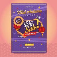 Fantastic Mid Autumn Festival Big Sale Poster vector