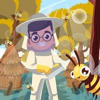 Honey Bee Protection with Kid Concept vector